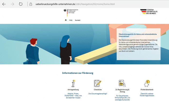 Das Portal ueberbrueckungshilfe-unternehmen.de informiert über Chancen und Voraussetzungen der staatlichen Förderung.