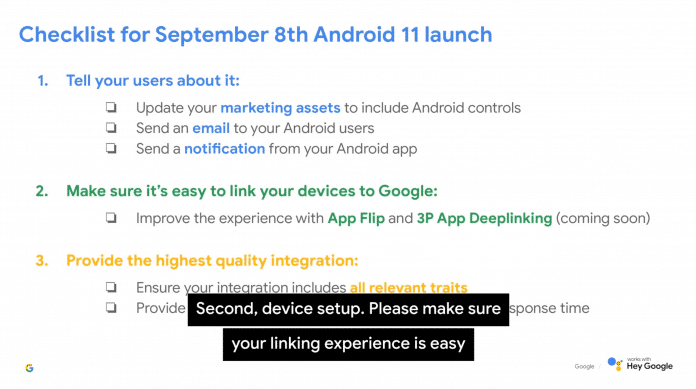 Eine Folie auf dem Smart Home Summit enthüllt den potenziellen Erscheinungstermin von Android 11.