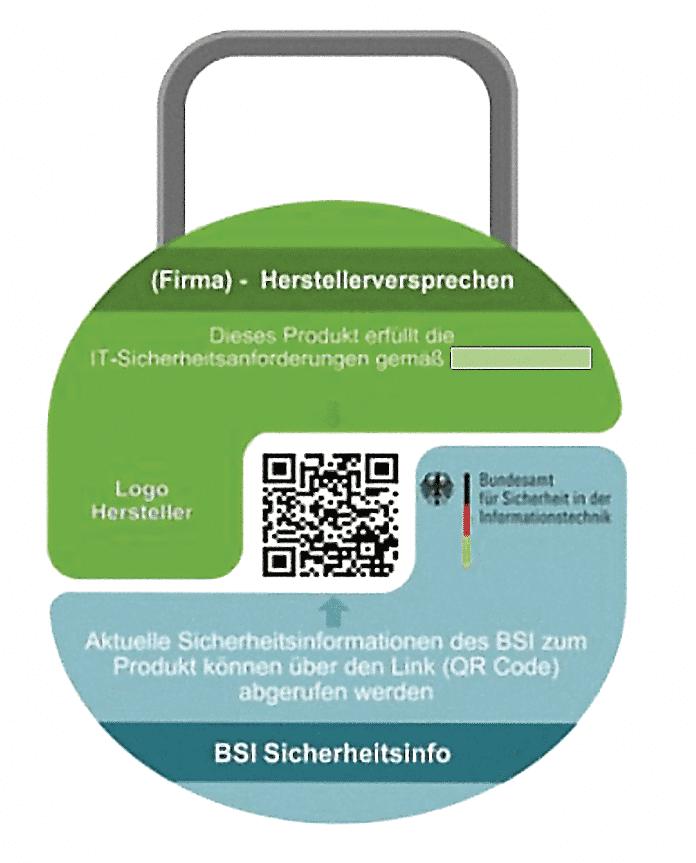 Der 2019 veröffentlichte vorläufige Entwurf für das kommende IT-Sicherheitskennzeichen in Gestalt eines stilisierten Vorhängeschlosses zeigt keine Angaben zu besonderen Sicherheitsaspekten des Produkts. Der QR-Code in der Mitte führt Smartphone-Nutzer zur Website des BSI.