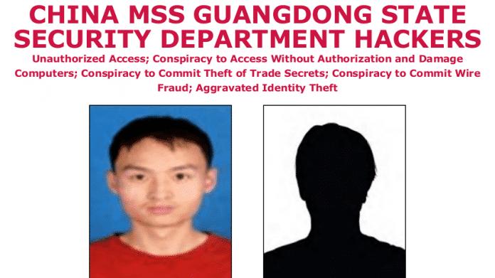 """Foto eines Verdächtigen, Symbolbild für zweiten Verdächtigen, darüber steht """"China MMS Guangdong State Security Department Hackers"""""""