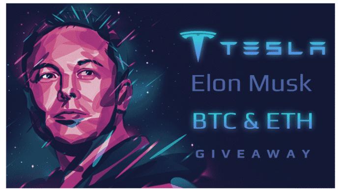 """Zeichnung Elon Musks, daneben steht """"Tesla - Elon Musk - BTC & ETH - Giveaway"""""""
