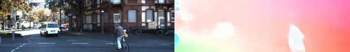 Eine Verkehrsszene mit Auto und Fahrrad: Im optischen Fluss sind beide klar zu erkennen.