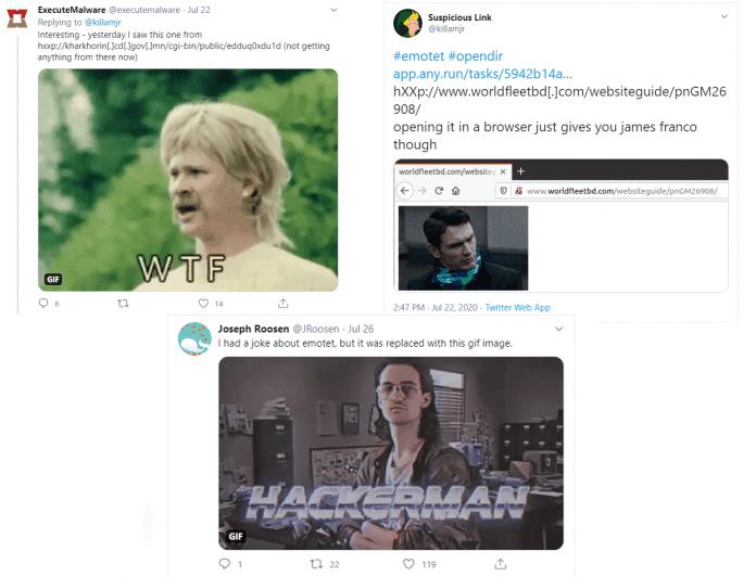 Die Sicherheitsforscher dokumentierten die GIF-Varianten bei Twitter.