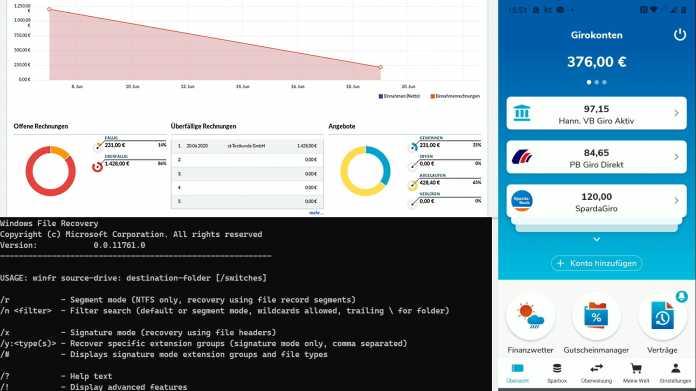 Kurztests: Multibanking-App, Datenwiederherstellung und Buchhaltung im Browser