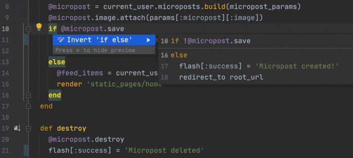 RubyMine kann bedingte Anweisungen beziehungsweise tenäre Operationen umkehren.
