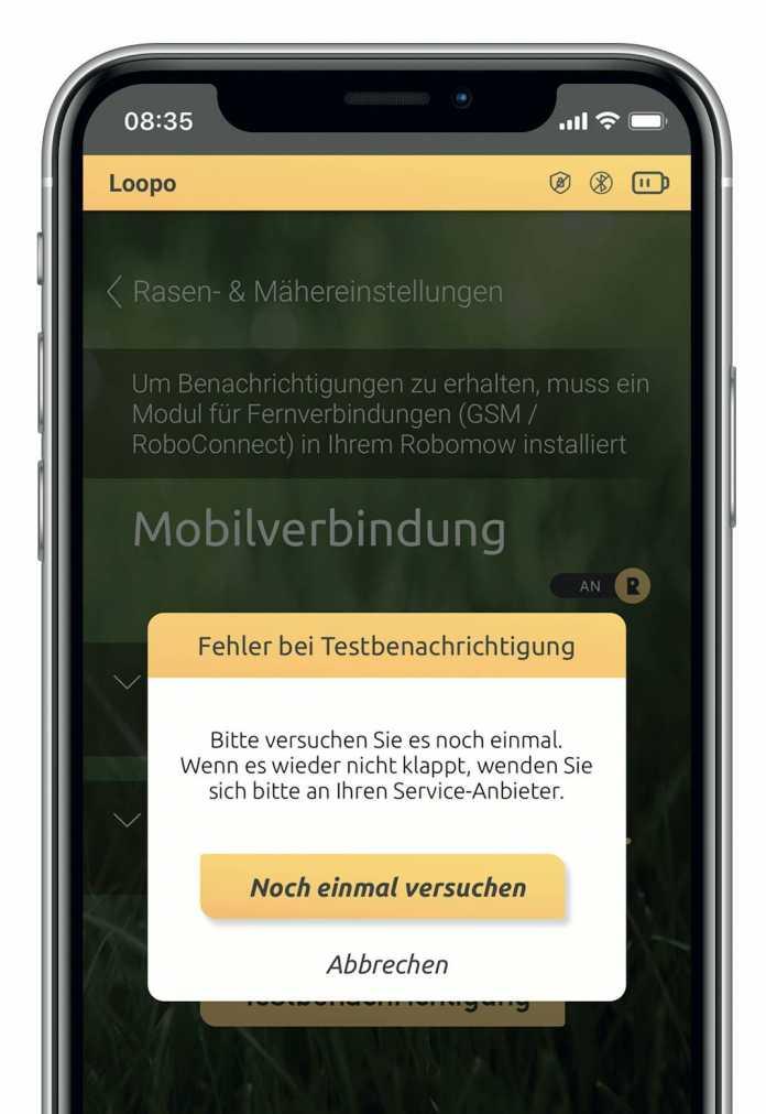 Das GPS/GSM-Modul von Robomow produzierte im Test mit der App stets eine Fehlermeldung. Der Befehl ließ sich zudem nur in Bluetooth-Reichweite erteilen.
