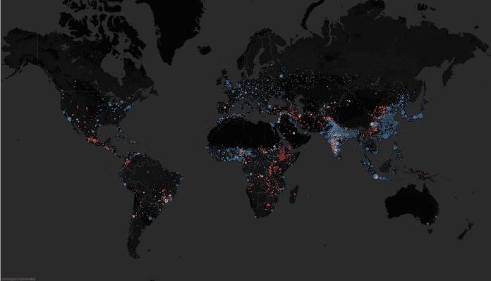 Die Städte dieser Welt, eingefärbt nach Höhe über dem Meeresspiegel.