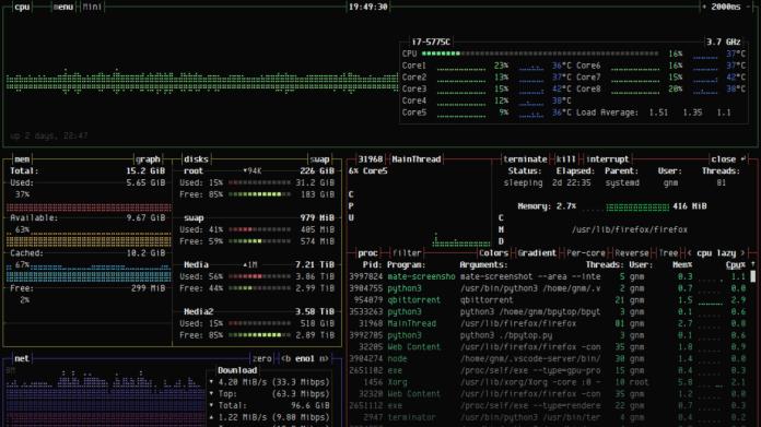 bashtop als Python-Anwendung: bpytop Version 1.0.0 freigegeben