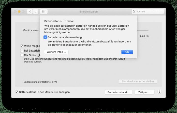 macOS 10.15.5 aktiviert das Batterie-Management automatisch.