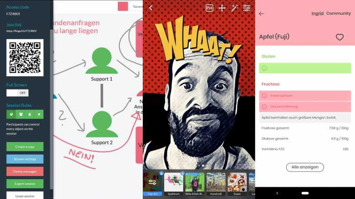 Kurztests: Adobe Kamera-App, Web-Whiteboard, Lebensmittelunverträglichkeits-App