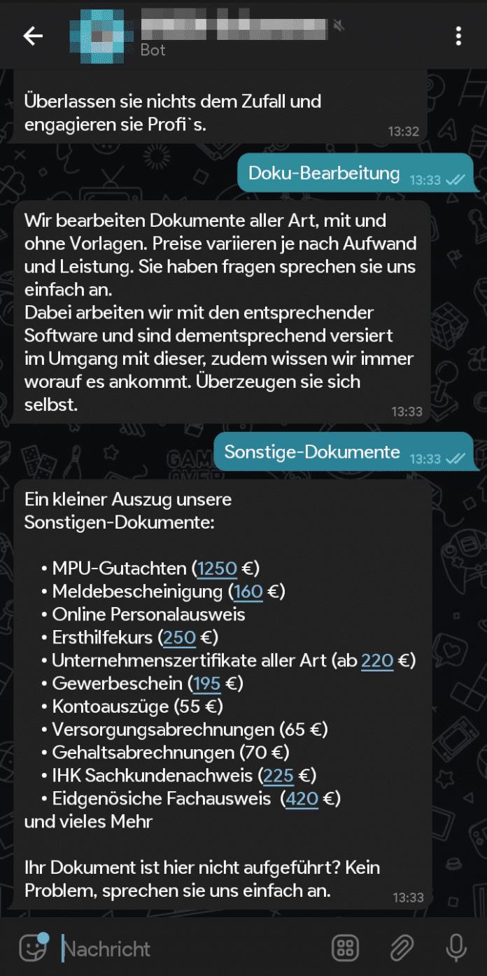 Über einen professionell wirkenden Telegram-Bot kauft man gefälschte Dokumente.