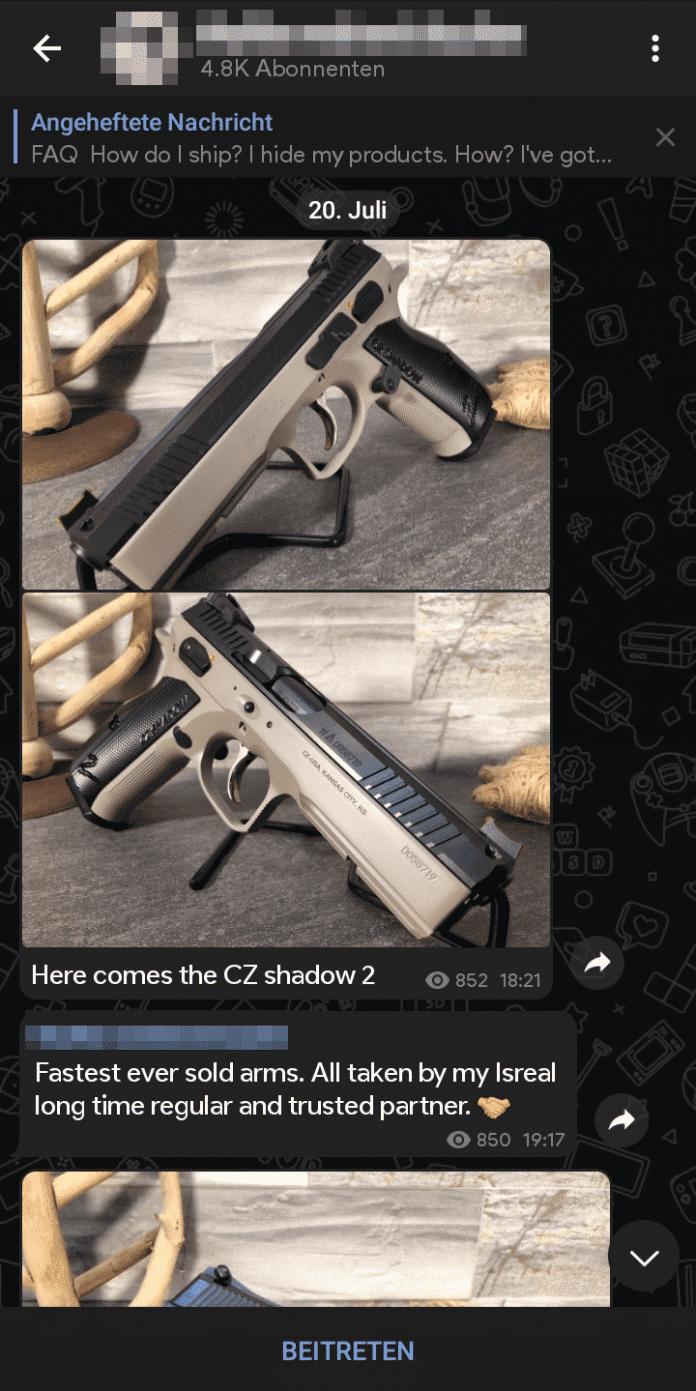 Nicht nur Pistolen, sondern auch Maschinengewehre bietet der Schwarzmarkt auf Telegram.
