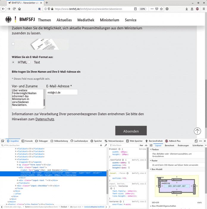 Durch den einfachen Austausch eines HTML-Tags im Browser ließen sich mehrzeilige, formatierte und damit täuschend echte Texte in die Verifizierungsmails des Ministeriums einschleusen.