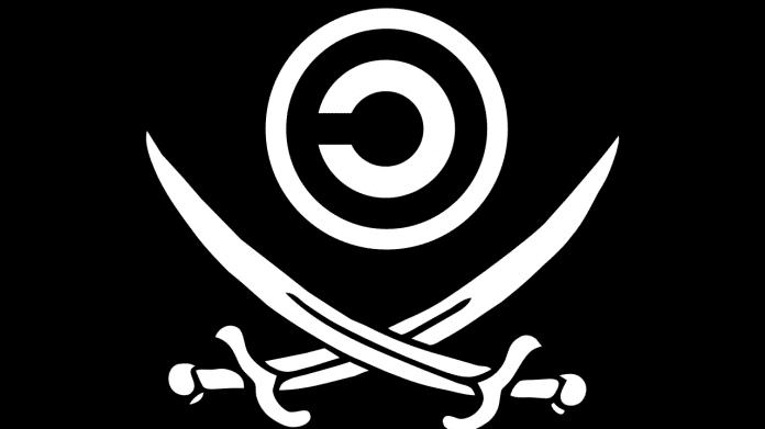 Copyleft-Flagge mit gekreuzten Säbeln (im Stile einer Piratenflagge)