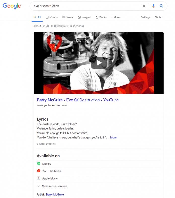 Screenshot eines Google-Suchergebnisses