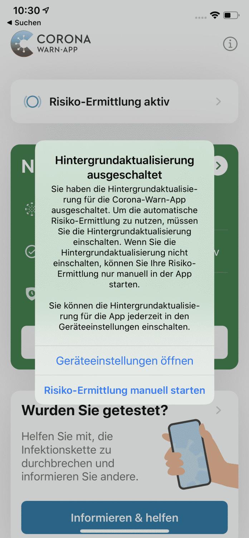 Ein neuer Hinweis warnt, wenn der Nutzer die Hintergrundaktualisierung abgeschaltet hat – dann erfolgt keine automatische Risikoermittlung.