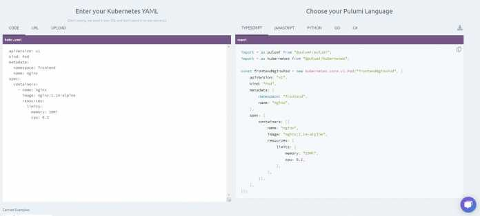 On the interactive side, developers can try out converting with kube2pulumi into five programming languages.