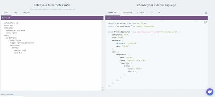 Auf der interaktiven Seite können Entwickler das Umwandeln mit kube2pulumi in fünf Programmiersprachen ausprobieren.
