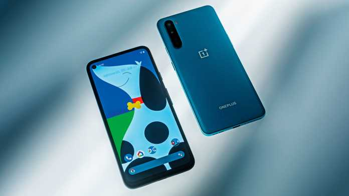 Android-Smartphones Google Pixel 4a und OnePlus Nord