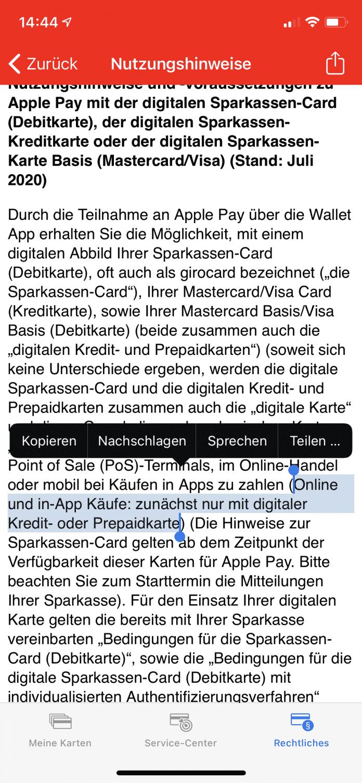 Die Nutzungshinweise für die digitale Sparkassen-Card sind in der App der Bank verzeichnet.