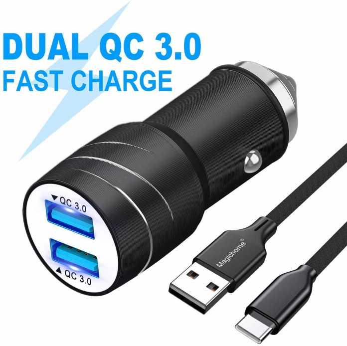 Der Dual-Lader fürs Auto lädt angeschlossene Geräte stets mit derselben Spannung, da die beiden USB-Buchsen parallel geschaltet sind. Das kann böse enden.