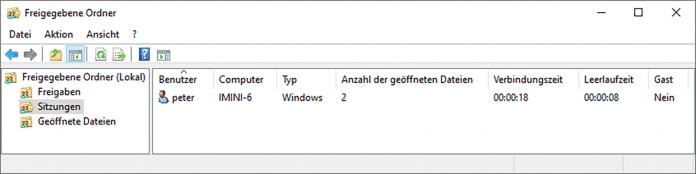 Eine Management-Console verrät sogar in der Home-Edition, wer übers Netz mit dem PC verbunden ist.