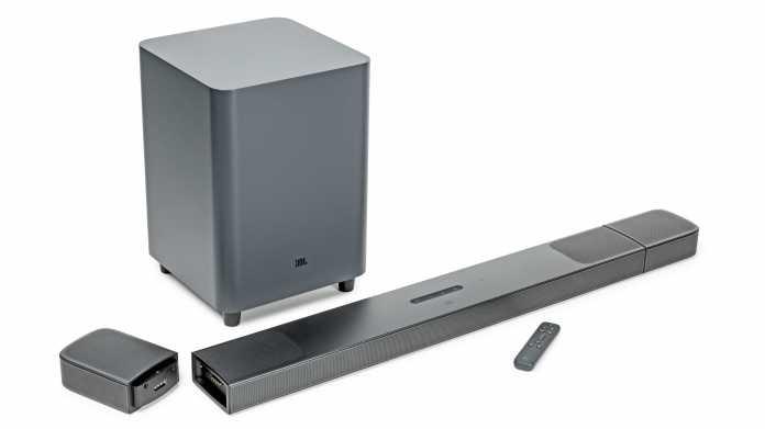 5.1.4-Soundbar mit akkubetriebenen Surroundlautsprechern von JBL
