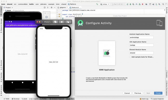 Kotlin Multiplatform Mobile bietet einen Projekt-Wizard für den raschen Einstieg.