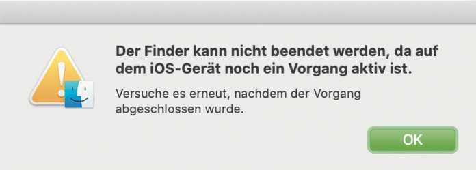 Solange der Finder von macOS Catalina Daten mit einem iPhone synchronisiert, lässt sich der Mac nicht neu starten.
