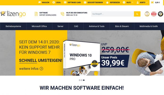 Lizengo wirbt offensiv damit, Software zu einem Bruchteil des Preises zu verkaufen, den der Hersteller selbst verlangt.