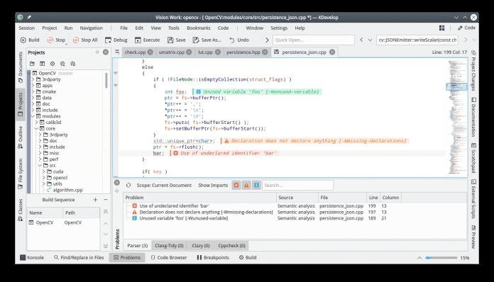 Die Open-Source-Entwicklungsumgebungen zeigt Warnungen und Fehler jeweils am Zeilenende an.