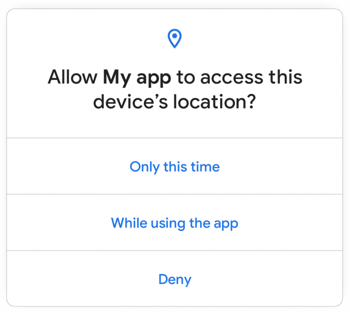 Android 11 can only grant apps access to sensitive data such as location for the current session.