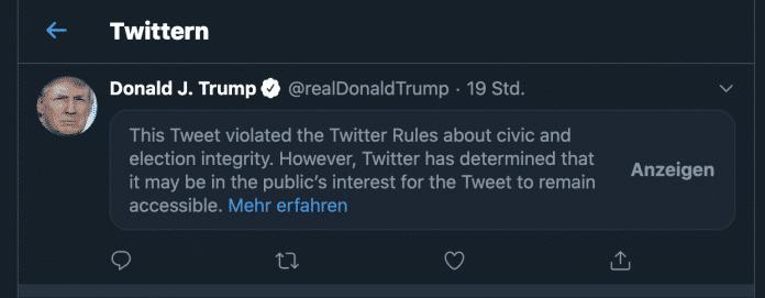 So präsentiert Twitter Trumps Tweet – erst wenn man den Warnhinweis zur Kenntnis nimmt, erscheint der Inhalt.