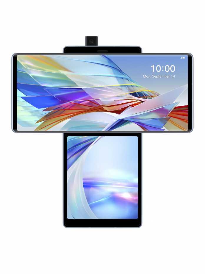 Mit gedrehtem Bildschirm gibt das LG Wing einen gewöhnungsbedürftigen Anblick ab.