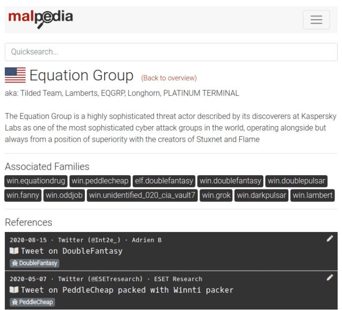 Wenn es um APT, Cybercrime oder Malware geht, gibt Malpedia einen guten Einstieg in die weitere Recherche.