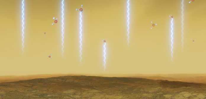 Künstlerische Darstellung der Phosphin-Moleküle, die in große Höhen aufsteigen und dort Stahrlung im Millimeterbereich absorbieren, wodurch sie nun nachgewiesen werden konnten.
