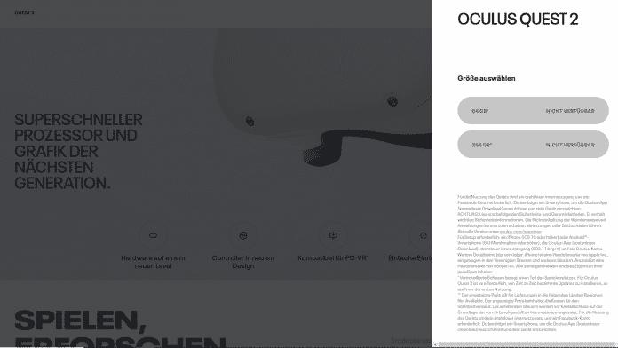"""Ruft man den Oculus-Webshop aus Deutschland auf, sind die Headsets """"nicht verfügbar"""". Aus zum Beispiel Österreich klappt es problemlos."""