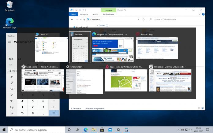 Windows 10 in Version 20H2 kann auch geöffnete Edge-Browser-Registerkarten mit Alt + Tab anzeigen.