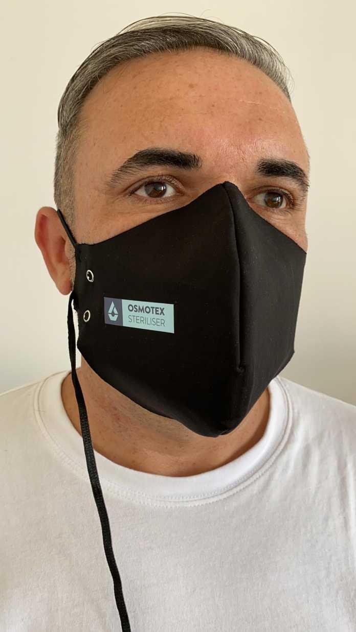 Selbststerilisierende Stoffe erzeugen mit einer elektro-osmotischen Membran auf Knopfdruck desinfizierendes Ozon in geringer Menge.
