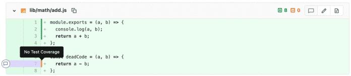 Beim Versionsvergleich für Merge Requests zeigt GitLab an, welcher Code nicht von Tests abgedeckt ist.