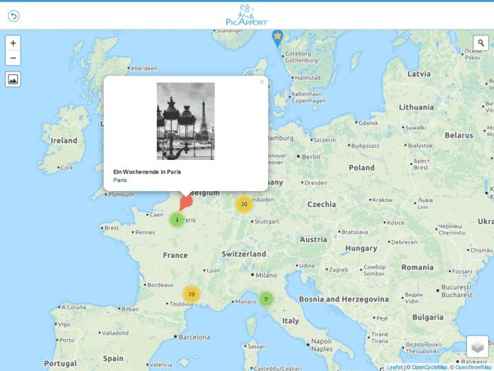 Über OpenStreetMap findet PicApport Schlüsselwörter anhand von Geotags und erstellt Reiserouten.