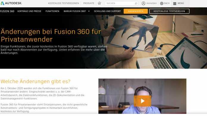 Neue Einschränkungen für kostenlose Nutzung von Fusion 360