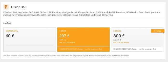 Der Sonderpreis für Fusion 360 gilt nur bis zum 16. Oktober 2020.