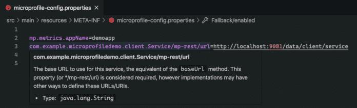 LSP4MP zeigt unter andrem beim Überfahren von Properties mit der Maus die zugehörige MicroProfile-Dokumentation an.