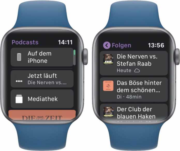 """In der Podcast-App gibt es zwei Quellen: """"Auf dem iPhone"""" greift auf das Smartphone zurück, """"Mediathek"""" auf den internen Speicher der Apple-Watch. Ein Wolkensymbol verrät, ob eine Episode bereits im Watch-Speicher liegt oder noch geladen werden muss."""