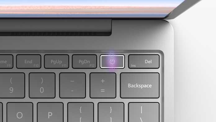 Bei höheren Ausstattungsvarianten des Surface Laptop Go enthält der Einschalter einen Fingerabdruckleser.
