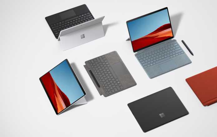 Das Surface Pro X gibt es nun auch mit silbernem Gehäusen und verschiedenfarbigen Tastatur-Covern.