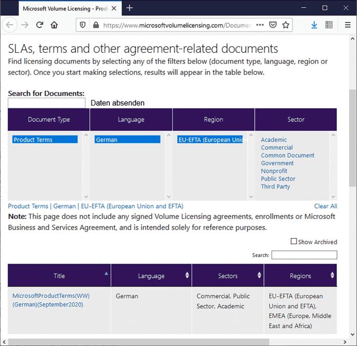 """Wer bei Microsoft die deutschsprachigen Lizenzbestimmungen (""""Product Terms"""") herunterlädt, erhält ein 148 Seiten langes Textdokument, das wohl kaum jemand durchliest."""