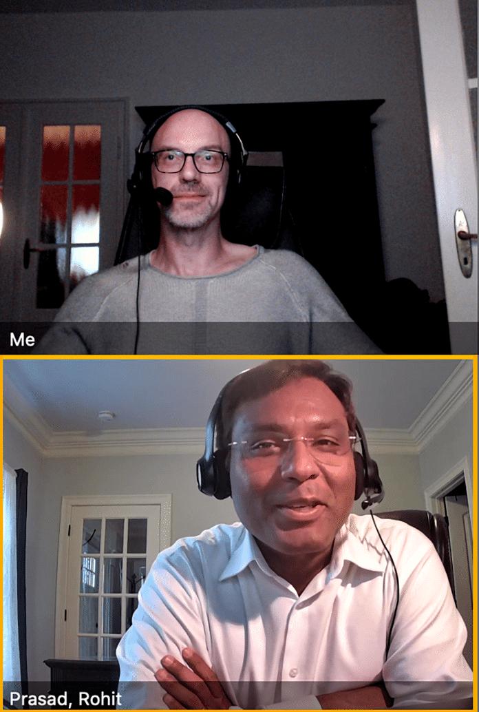 Im Online-Einzelinterview beantwortete der Chef Scientist der Alexa-KI-Abteilung Rohit Prasad (unten) Fragen zur kommenden Entwicklung der Sprachassistentin.