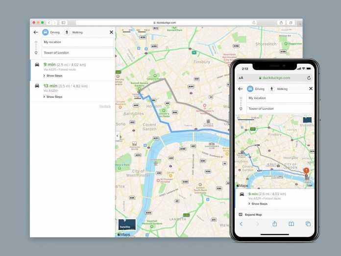 Neu bei der Suchmaschine DuckDuckGo: Die Kartenansicht kann nun auch Routen (fürs Auto und für Fußgänger) vorschlagen.